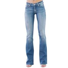 Kobiety w połowie zwężone dżinsy kieszeń Stretch przycisk Bell-bottom spodnie jeansowe spodnie Flare dżinsy Vintage damskie spodnie g3 tanie tanio Poliester Pełnej długości Osób w wieku 18-35 lat 1PC Women Pant Na co dzień Plaid Wysoka Zipper fly HOLE Spodnie pochodni