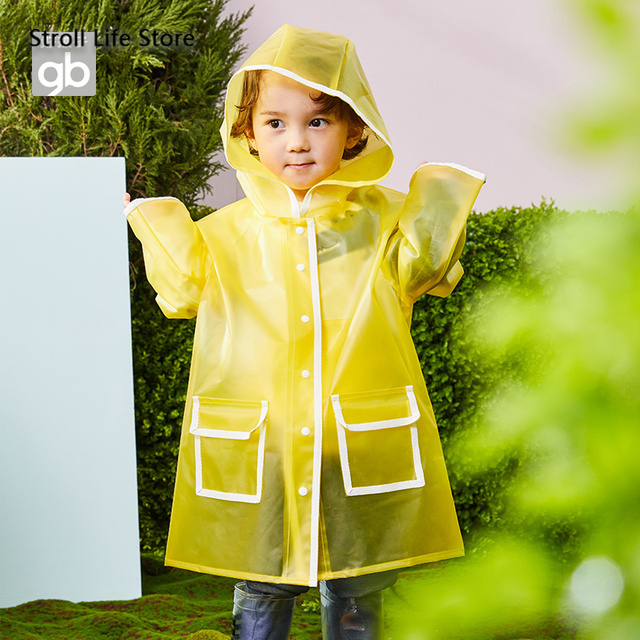 Kids Clear Raincoat Yellow Long Children Rain Coat Transparent Waterproof Poncho Rain Jacket Kids Capa De Chuva Birthday Gift