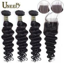 Faisceaux de cheveux Uneed avec fermeture 4x4 dentelle fermeture péruvienne lâche vague profonde faisceaux de cheveux avec fermeture 100% Remy armure de cheveux humains