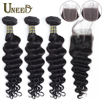Uneed Hair Bundles With Closure 4x4 Lace Closure Peruvian Loose Deep Wave Hair Bundles With Closure 100% Remy Human Hair Weave