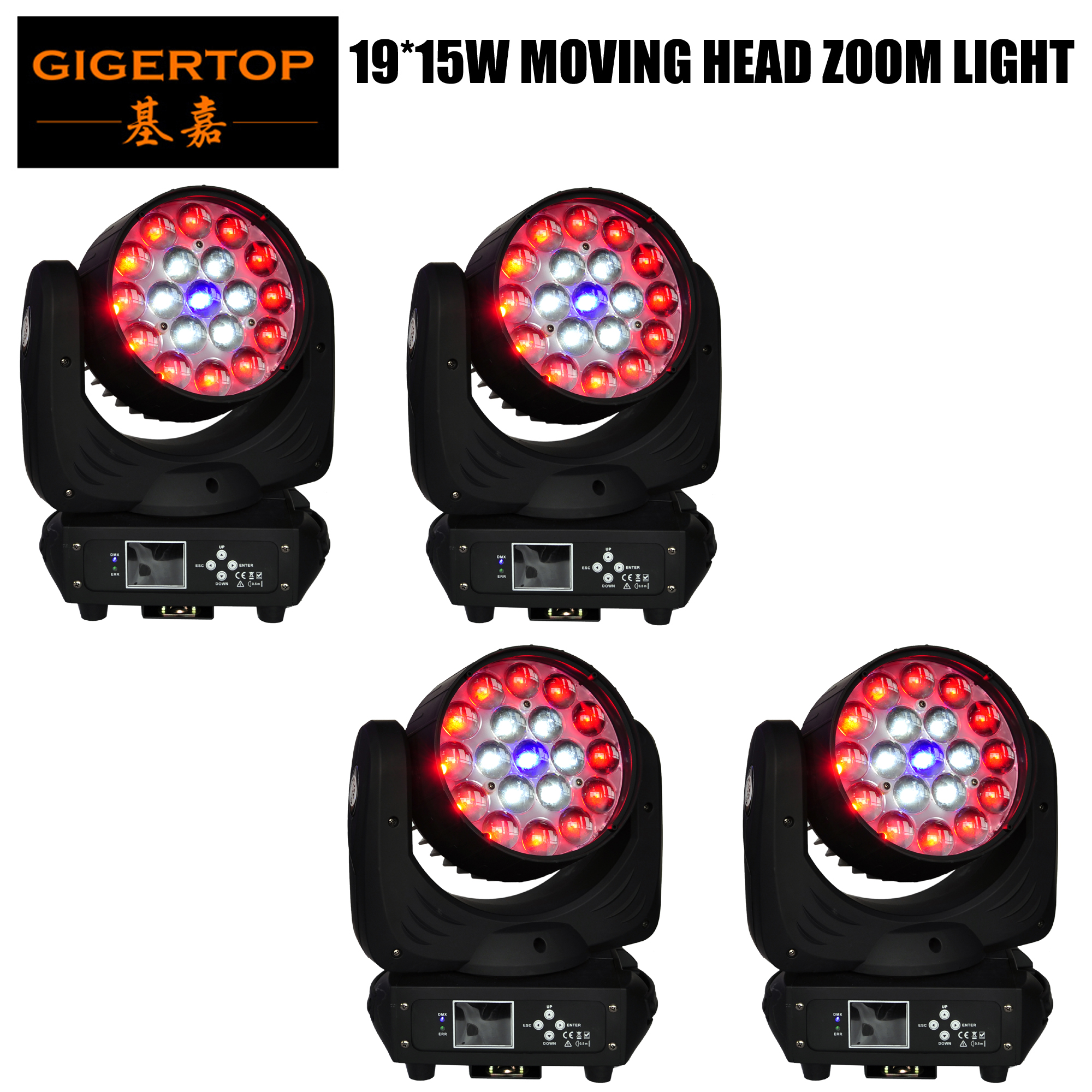 TIPTOP 19 X 15W 4 Color Zoom Led Moving Head Zoom Light Beam Wash Angle Adjustable 13/24 DMX Channel Color Ring Control X 2 Pack