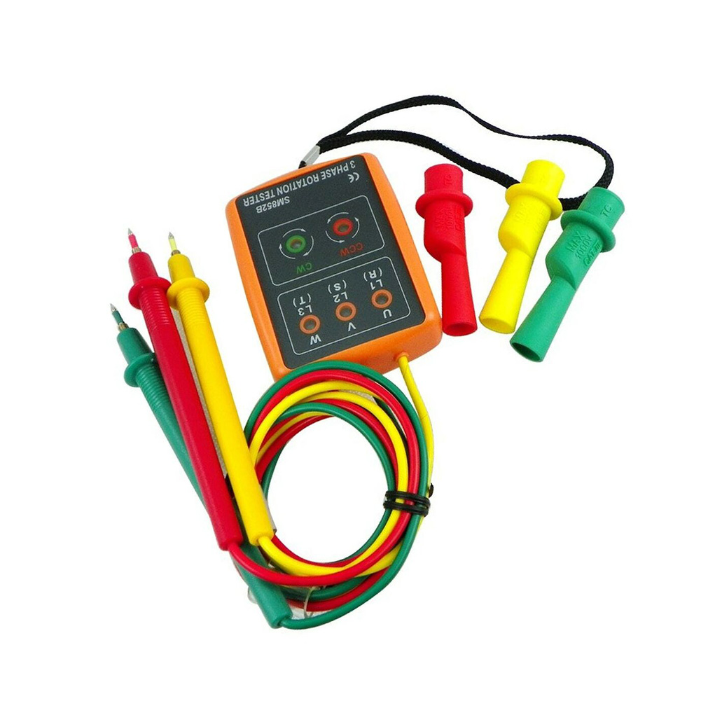 SM852B Probador de rotaci/ón de 3 fases Indicador de fase digital Detector LED zumbador Secuencia de fase Medidor de voltaje del medidor 60V ~ 600V AC