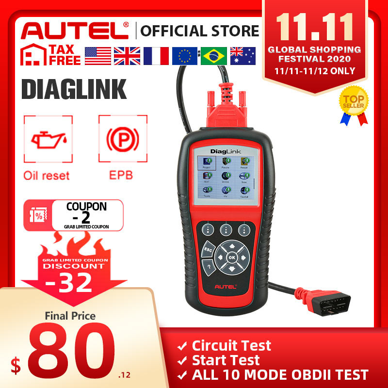 AUTEL MaxiDiag Elite MD802 Diaglink OBD2 Scanner All System Car Diagnostic Tool OBD 2 Code Reader EPB Oil Reset PK MD805 CRP129