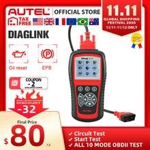 AUTEL MaxiDiag Elite MD802 Diaglink skaner OBD2 cały System narzędzie diagnostyczne do samochodów OBD 2 czytnik kodów EPB Reset oleju PK MD805 CRP129