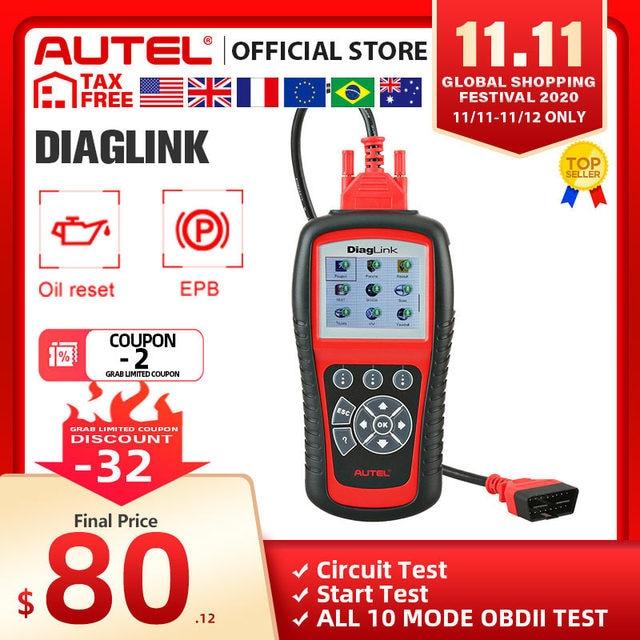Autel maxidiagエリートMD802 diaglink OBD2スキャナーすべてのシステムカー診断ツールobd 2コードリーダーepbオイルリセットpk MD805 CRP129