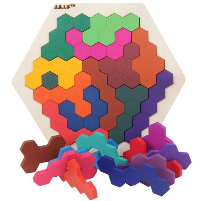 Fun Geometry Tangrams Honeycomb Logic Puzzles Kids Wooden Training Brain IQ Games Toys Children Desktop Educational Toy Gifts