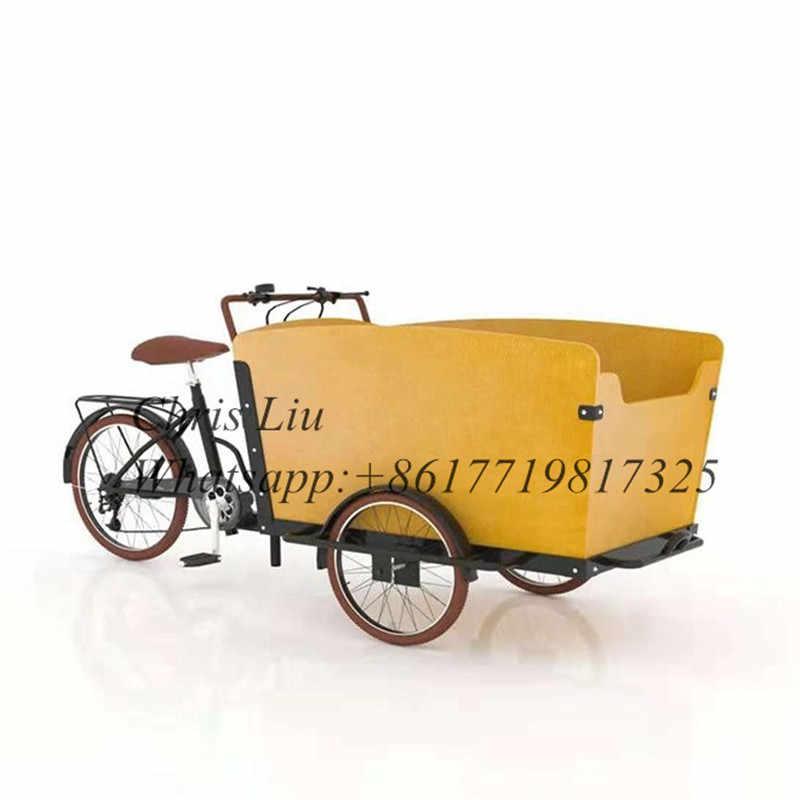 フロント 20 bakfiets 3 ホイールバイク貨物トライクと新デザイン木製ボックス電動自転車カート
