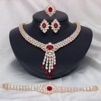Nigeria 4pcs Bridal Zirconia Necklace Sets For Women Jewelry sets & More Dubai Nigeria CZ Crystal Wedding Jewelry Sets