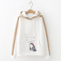 Xm4341 Autumn And Winter New Style College Style Cartoon Lettered Cat Printed Hooded plus Velvet Pullover Hoody Blouses Fashion