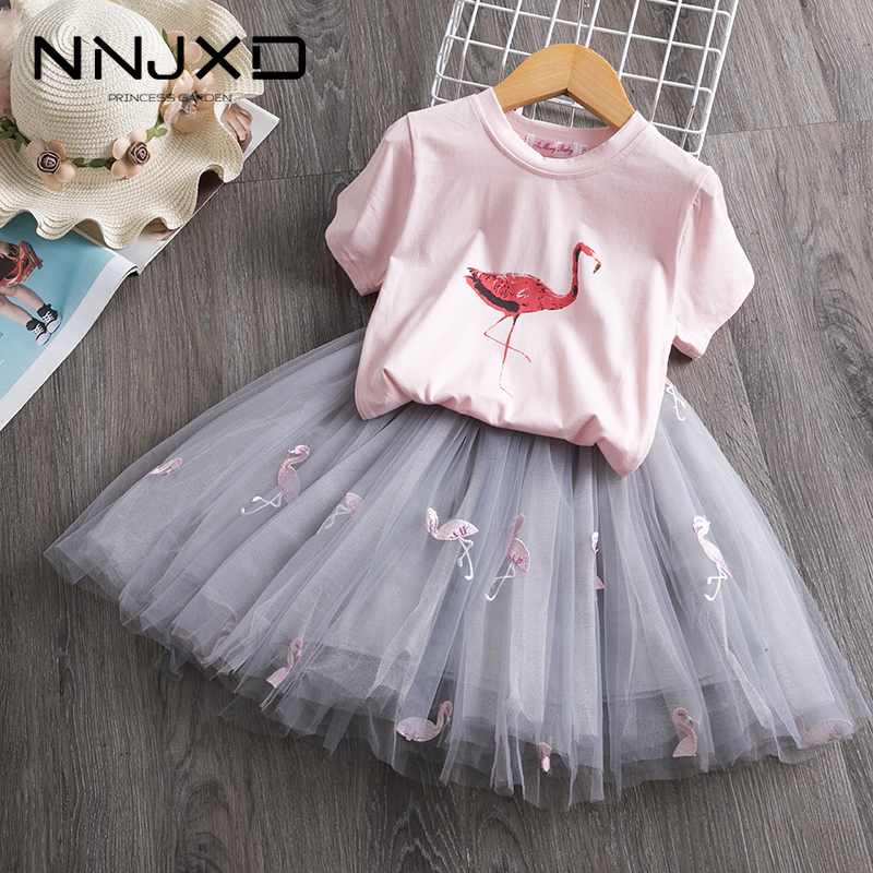 2021 Toddler Girl Kids Set 2 Piece Girl Set Dresses Party Little Girl Clothes for Flamingo Girls Dress Summer Clothing 7 Years 1