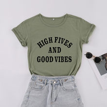 High five and good vibes chirst faith 축복받은 티셔츠 100% 코튼 오 넥 반팔 티셔츠 cute funny top tee women(China)