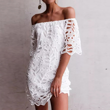 ZANZEA Fashion Summer Lace Crochet Dress Women Off Shoulder Short Sleeve Party White Sundress Sexy Boat Neck Hollow Out Vestido