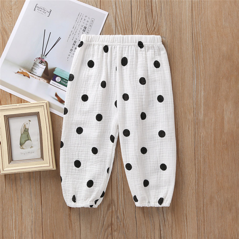 Toddler Kids Baby Boys Girls Clothes Elastic Long Pants Polka Dot Cherry Print Trousers Fashion Casual Harem Pants Autumn