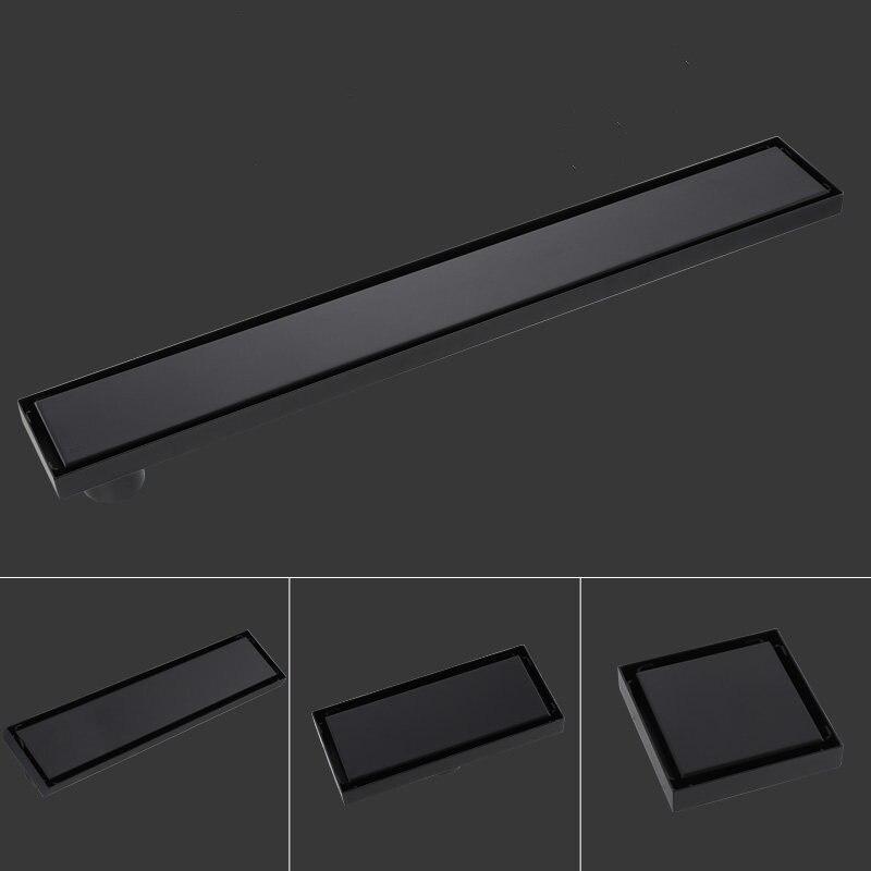 Bathroom Modern Black Square Floor Drain Tile Insert Invisible Fashion Design Deodorization Filter Hair