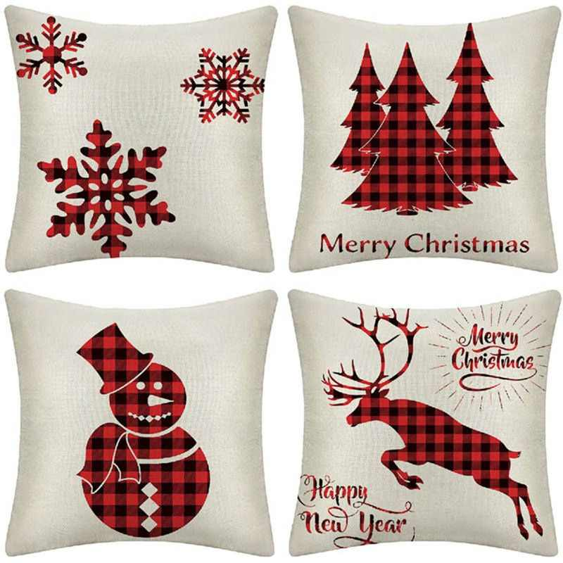 Merry Christmas Cushion Cover Decorative Pillows Cover For Sofa Seat Square Soft Throw Pillow Case 45*45cm Home Decor