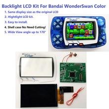 Mais novo wsc hightlight ips tela lcd diy kit luz de fundo brilho para bandai wonderswan cor para maravilha cisne cor jogo console