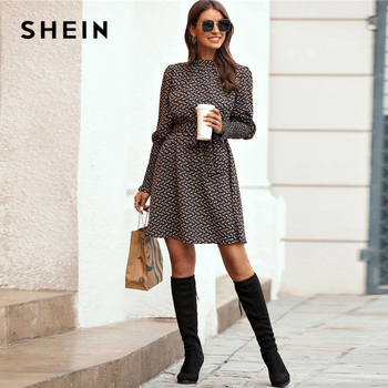 SHEIN Stand Collar Ditsy Floral Print Elegant Dress With Belt Women 2020 Spring Flounce Sleeve Ladies A Line Short Frill Dresses 2
