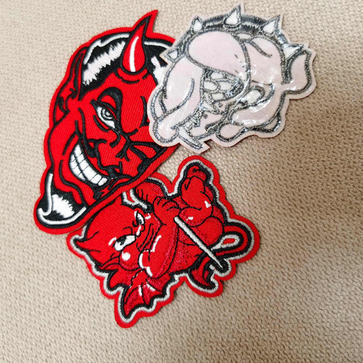Neue Ankunft Rot Schädel Teufel Eisen auf Patches von Kleidung Zubehör Stoff Patch Aufkleber Stickerei Klebe Großhandel