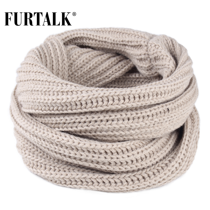 FURTALK Winter Scarf Kids Ring Knitted Girls Boys Warm Scarf Baby Child Soft Ring Scarves Pink Black Grey Color