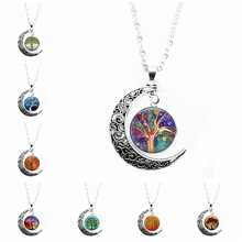 2019 Color Life Tree Glass Cabochon Moon Necklace and Pendant Jewelry Vintage Silver Chain