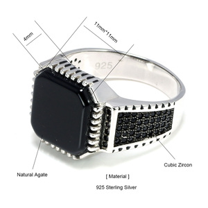 Image 5 - Genuine Solid 925 Sterling Silver Turkish Rings For Men Black Rings With Stone Square Natural Onyx Vintage Male Jewelry Anelli