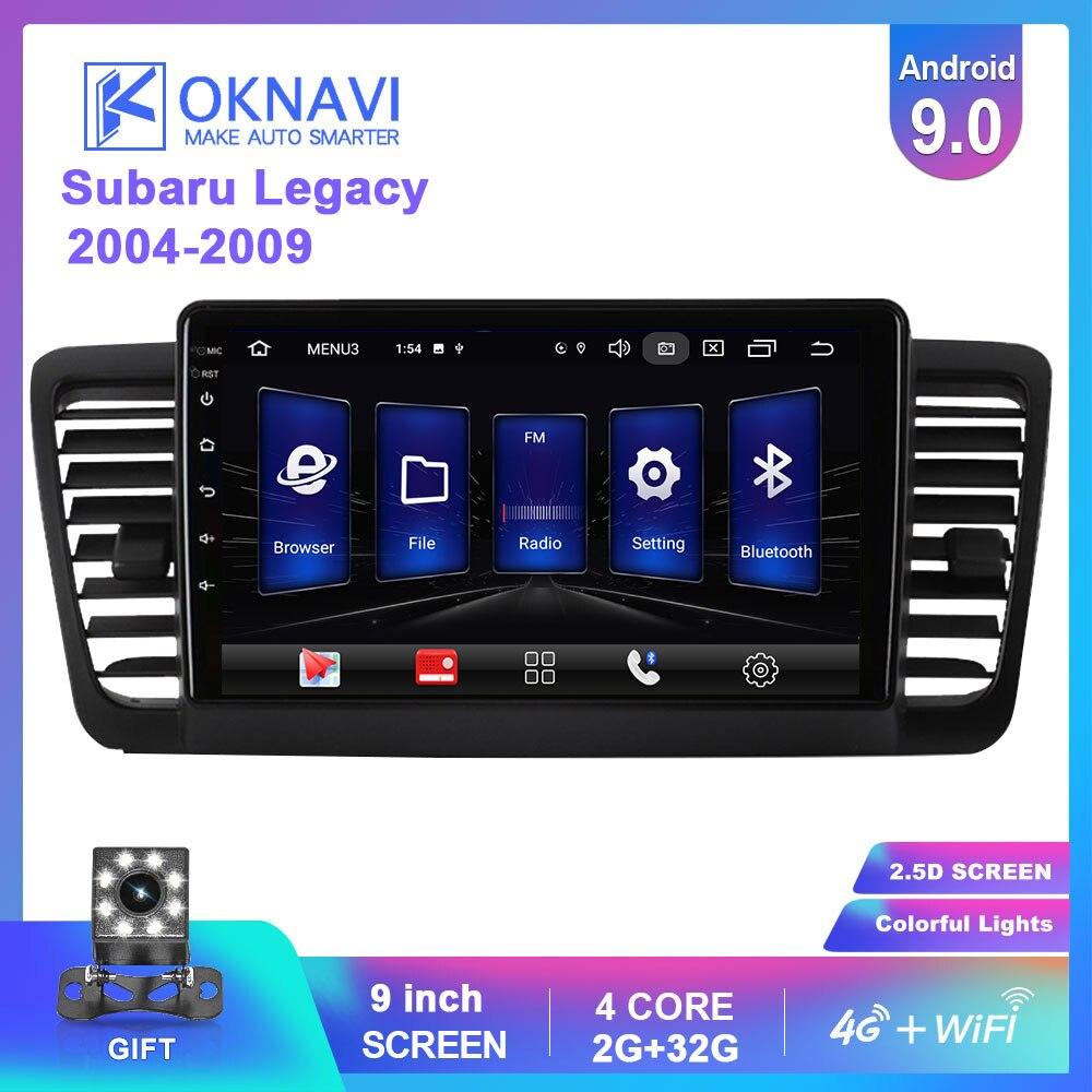 OKNAVI 2 Din Android 9.0 GPS NAvigation For Subaru Legacy Outback 2004-2009 Stereo Radio Video Multimedia 4G WIFI  Player No DVD