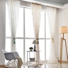 Thicken White Curtain For Living Room Balcony Modern Striped Curtain Tulle Bedroom Finished Sheer Curtains Window Screen Drapes(China)