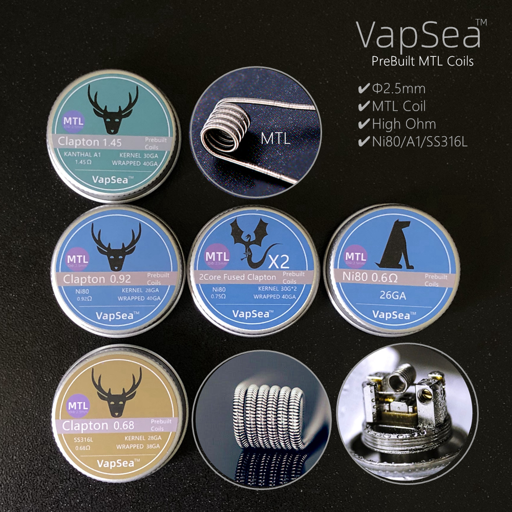 Pre-Built MTL Vape Coil Fused Clapton Coils Alien Clapton Premade Coil Vape A1 SS316L NI80 For RDA RTA Atomizer Mod Heating Wire