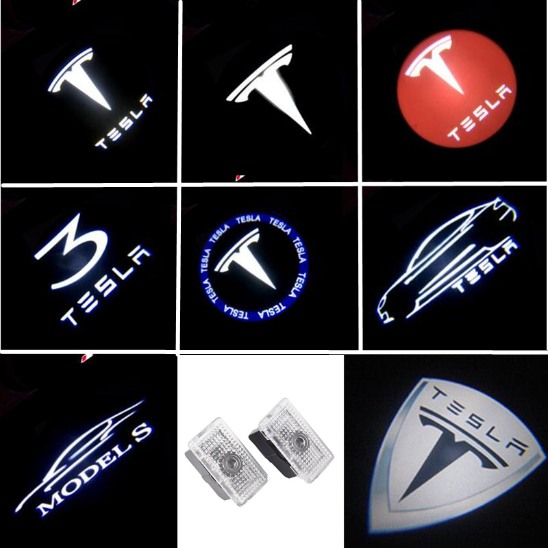 2pcs Car Door LED Logo Lights Projector Ghost Shadow Light  For Tesla Model S Model X MODEL 3 2017 2018 2019 Car Accessories