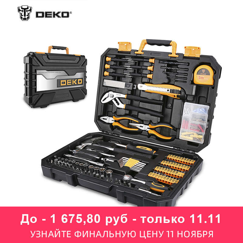 Juego de Herramientas DEKO TZ196 (196 Uds.) Juego de herramientas manuales de uso general para el hogar con tornillo de caja de plástico