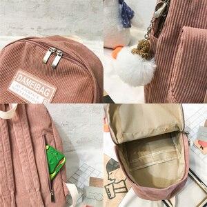 Image 5 - Милый вельветовый рюкзак в полоску, милый школьный ранец для женщин, роскошный рюкзак для девочек подростков в стиле Харадзюку, модная женская сумка для учебников