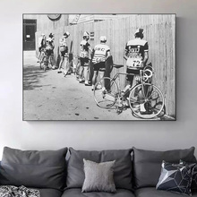Bicycle Man Peeing On Road Old Photo Vintage Poster And Prints Retro Canvas Painting On Wall Art No Frame Picture For Room Decor недорого