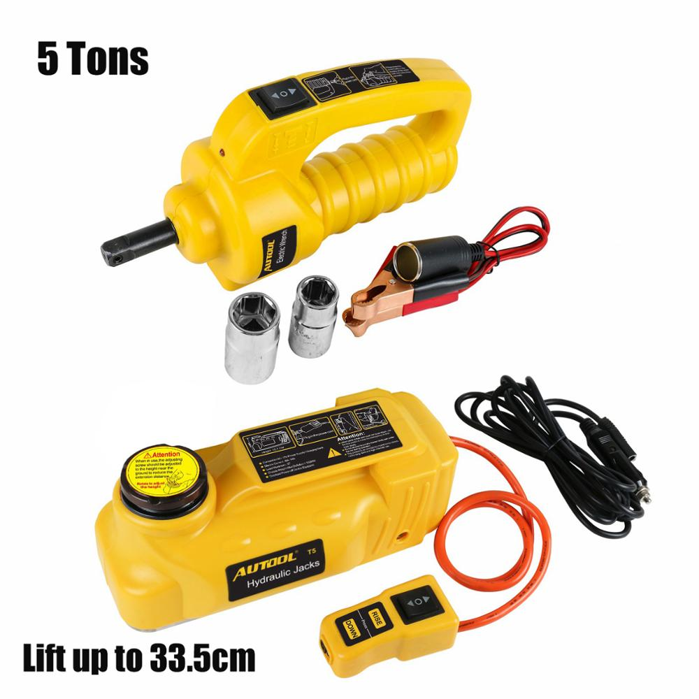 TULANAUTO 12V DC 5-ton Jacks Hydraulic Car SUV Off-road Lifting Vehicle Kits Electric Tool Car Workshop Wrench