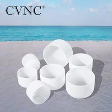 CVNC 440Hz or 432Hz Chakra Tuned Set of 7pcs 8 - 16 Note C D E F G A B Frosted Quartz Crystal Singing Bowls