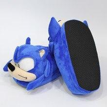 Zapatillas de casa de felpa con sonido de 28 cm para adulto, zapatos de invierno a la moda, azul, dibujos animados, Sonic, erizo, muñeca de peluche regalo