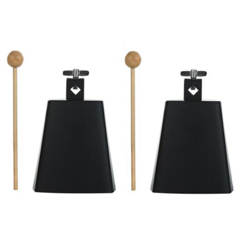 New 2Pcs 5 Inch Cow Bell Noise Maker Cowbell Percussion Instrument with Handle Stick for Drum Set Kit Percussion