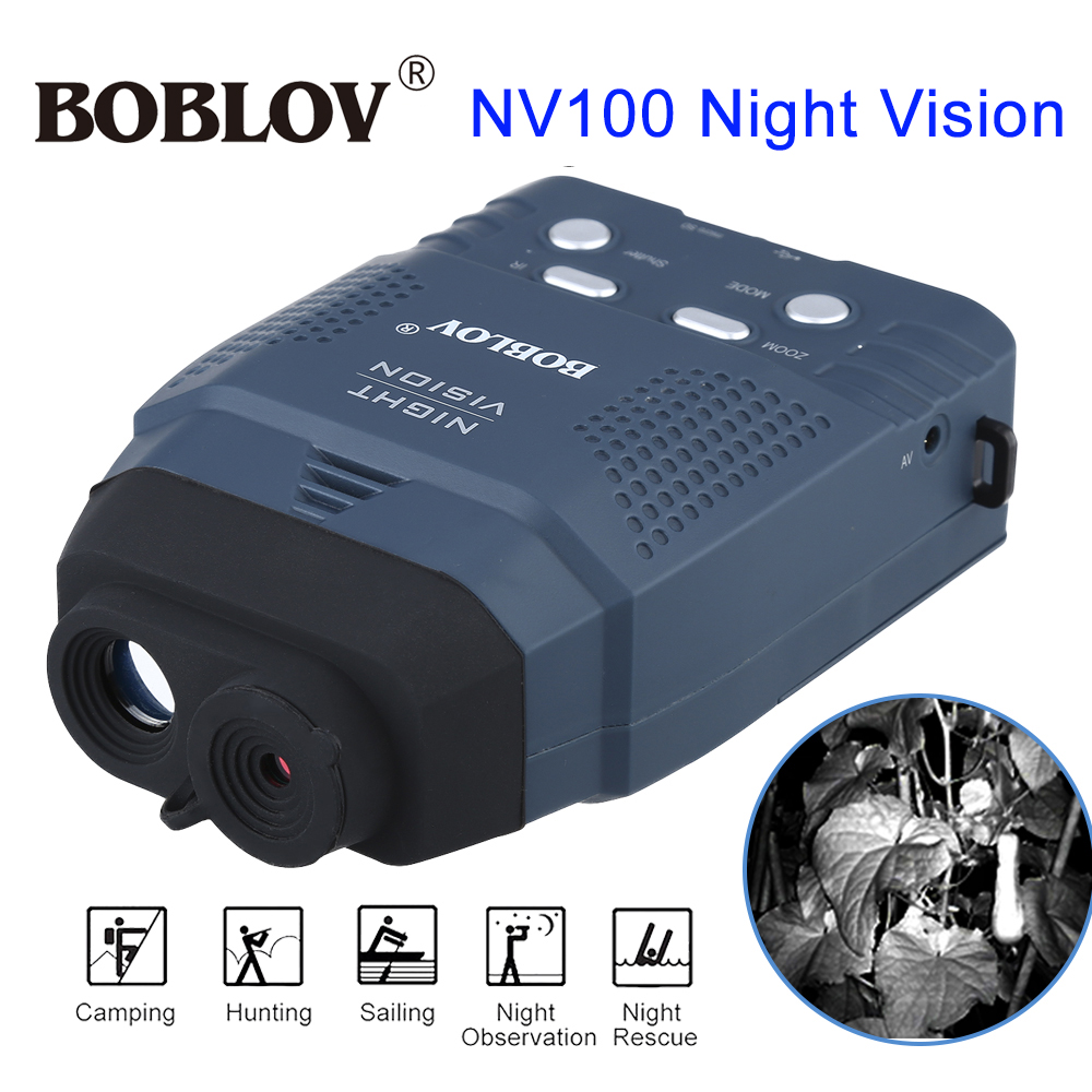 BOBLOV Digital NV100 Night Vision Device Scope Monocular IR Telescope Video DVR LCD-Screen+4GB TF Card 2x Wildlife Night Hunting
