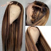 Perruque Lace Front Wig Remy brésilienne – Angel Grace, cheveux naturels, pre-plucked, balayage ombré, blond, brun, 13x4, 4/27, pour femmes