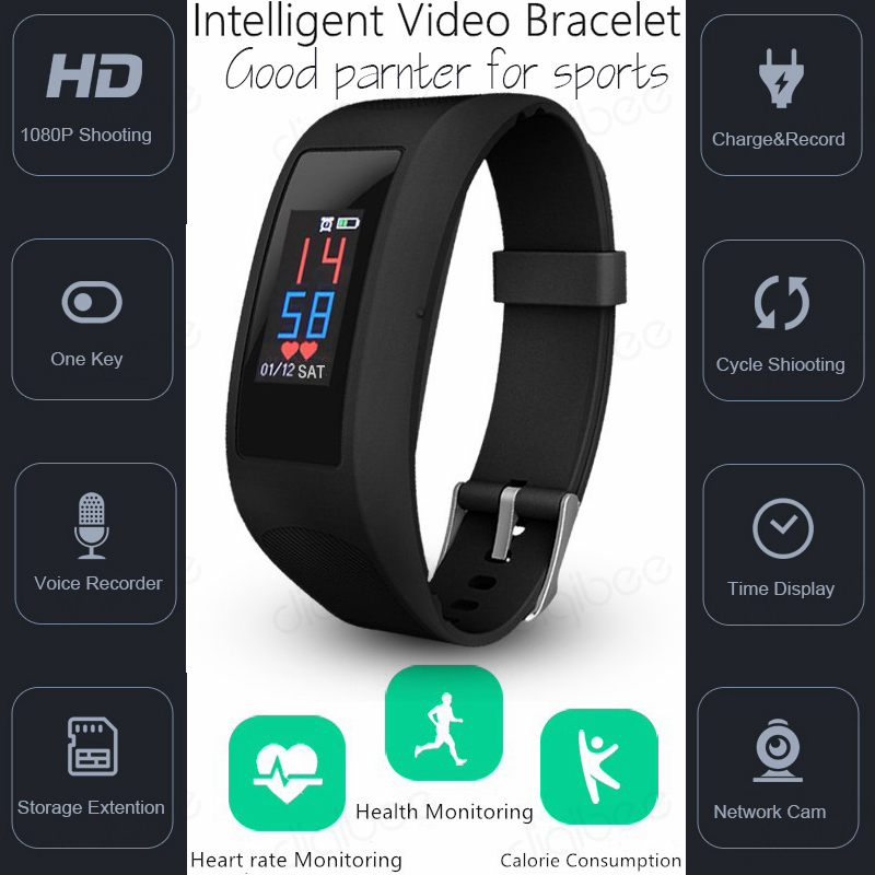 Умный браслет с сенсорным экраном, шагомер, калории, монитор сердечного ритма, умные часы, камера HD 1080 P, видео Диктофон, спортивный DV