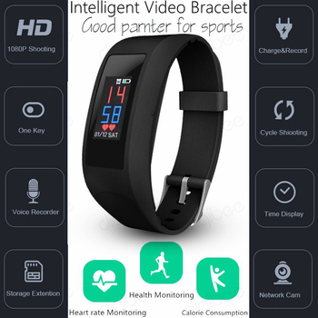 Spied Touch Intelligent Bracelet Pedometer Calorie Heart Rate Monitor Smart Watch Camera HD 1080P Video Voice Recorder Sports DV