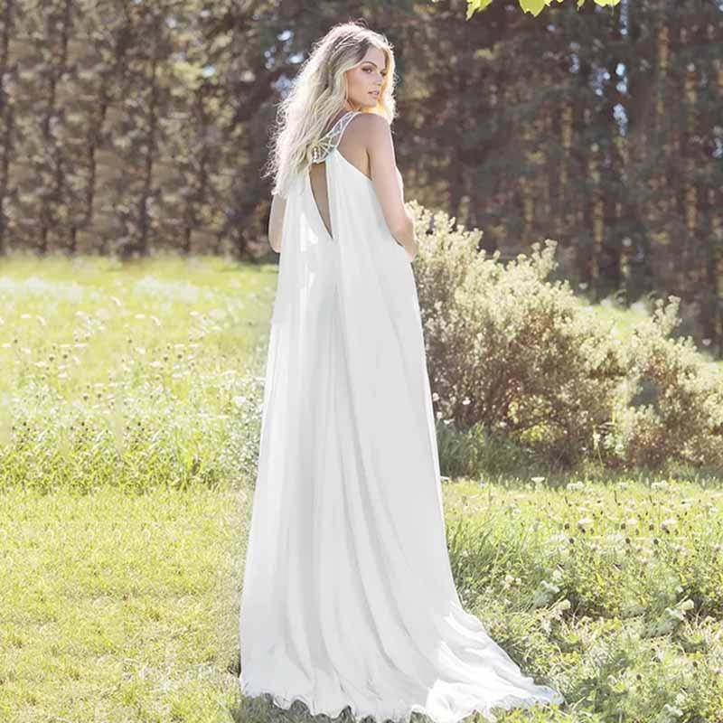 Eightree Halter Wedding Dress Boho Loose Beach Wedding Dress Vestido De Noiva Sleeveless Chiffon Wedding Gowns Waist Belt Beads