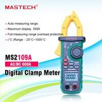 디지털 클램프 미터 Mastech MS2109A 자동 범위 AC DC 600A 멀티 미터 전압 앰프 옴 HZ 온도 커패시턴스 테스터 NCV 테스트