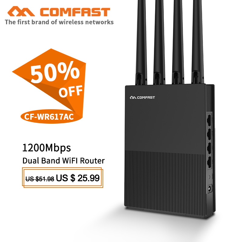 Comfast CF-WR617AC home wifi router 1200M Wireless Router 2.4G+5Ghz Wan/Lan Smart Wi-Fi Access Point Router with 4*5dBi Antennas image