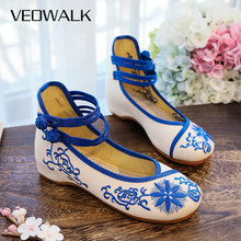 Ballet-Flats Casual-Shoes Women Canvas Veowalk Spring Floral Embroidered Vintage Ladies