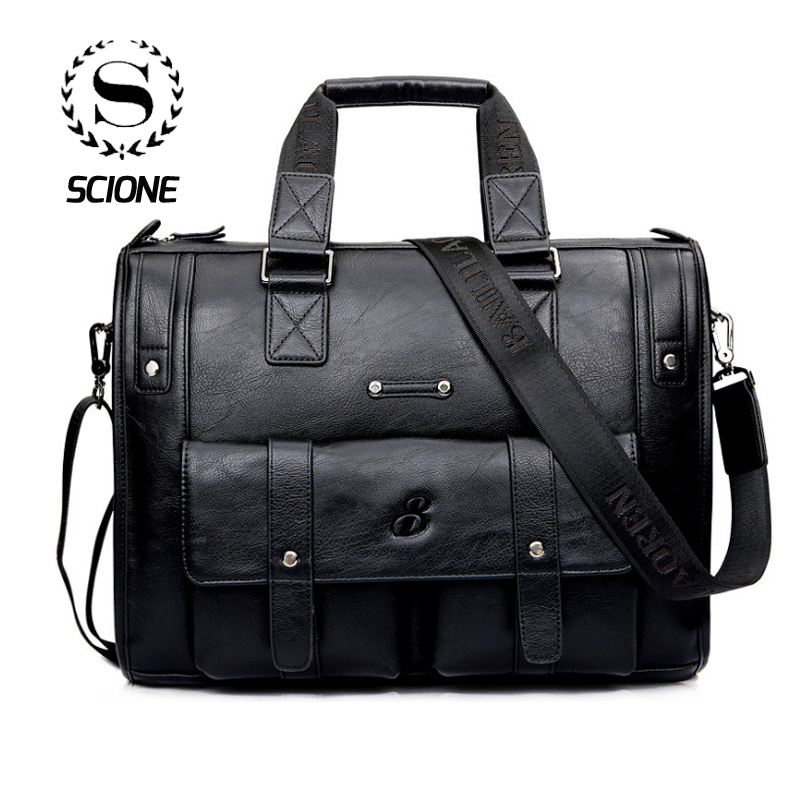 Scione Men Thicken PU Leather Briefcase Large Capacity Laptop Business Messenger Shoulder Bag High Quality Travel Office Handbag