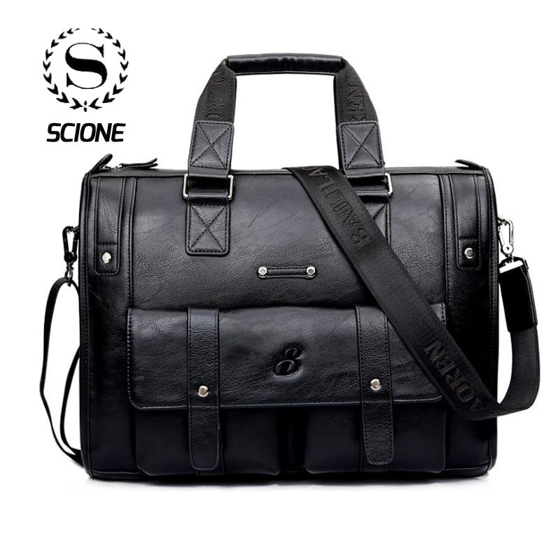 Scione Men Thicken PU Leather Briefcase Large Capacity Laptop Business Messenger Shoulder Bag High Quality Travel Innrech Market.com