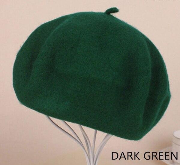 Женский берет для девушек, французский артист, теплая шерстяная зимняя шапка, шапка, винтажный однотонный берет, одноцветная элегантная женская зимняя шапка s - Цвет: Dark Green