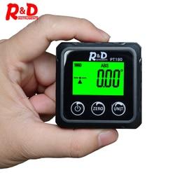 R&D PT180 Angle Protractor Universal Level Box 360 Degree Mini Digital Protractor Inclinometer Tester Measuring Tools