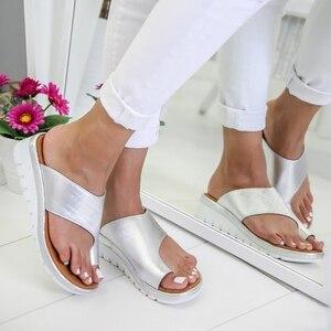 Image 5 - Delle donne DELLUNITÀ di elaborazione di Cuoio Scarpe Comode Piattaforma Suola Piatta Signore Casual Morbido Big Toe Correzione Del Piede Sandalo Shopping Suola Piatta Sandalo