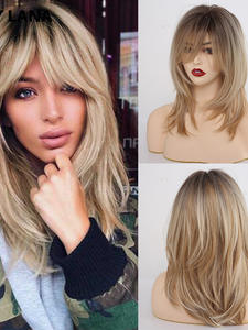 Wavy Wig Bangs Synthetic-Wigs Blonde Tiny Lana Gray Brown Mixed-Color Black High-Temperature